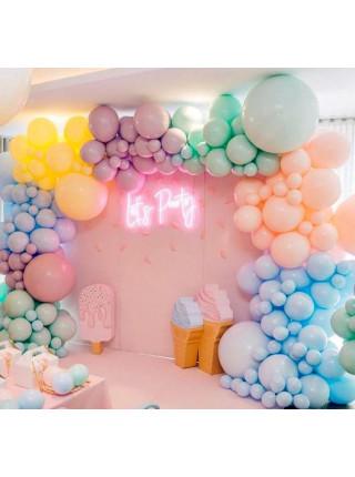 Гирлянда фантазийная из разнокалиберных шаров с элементами фольгированных, хром, шаров с конфетти
