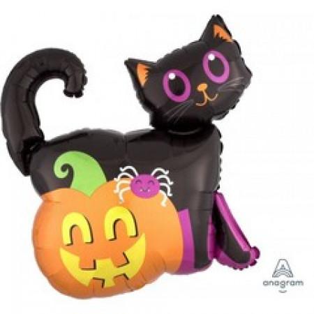 шары на хеллоуин фигура кот на тыкве