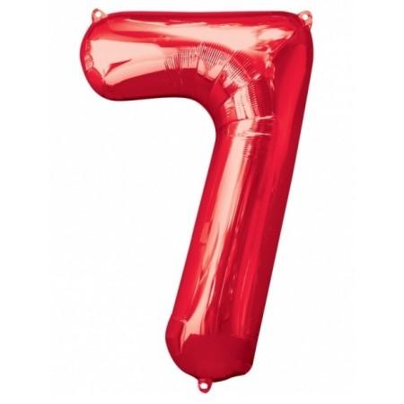 Цифра фольгированная с гелием, от 0 до 9. Метровая. Цвет: красный.