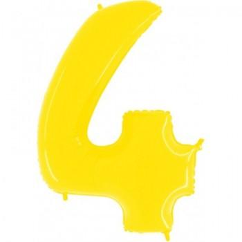 Цифра фольгированная с гелием, от 0 до 9. Метровая. Цвет: желтый.