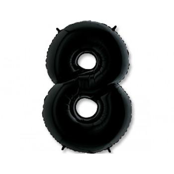 Цифра фольгированная с гелием, от 0 до 9. Метровая. Цвет: черный.