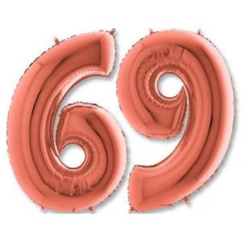 Цифра фольгированная с гелием, от 0 до 9. Метровая. Цвет: розовое золото.