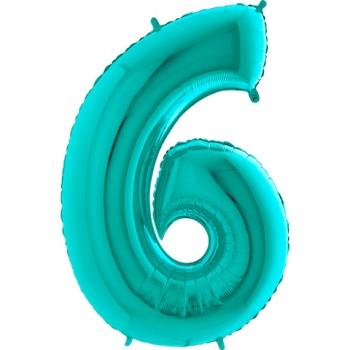 Цифра фольгированная с гелием, от 0 до 9. Метровая. Цвет: тиффани.