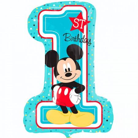 Цифра 1 фольгированная с гелием на день рождения мальчика 1 годик (США)