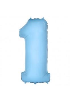 Цифра 1 фольгированная с гелием. Цвет нежно-голубой.