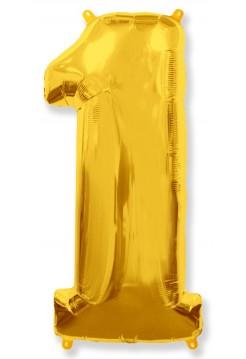 Цифра фольгированная с гелием, от 0 до 9. Метровая. Цвет: золото.